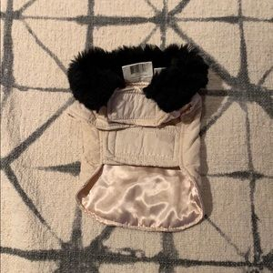XS satin look and fur color dog coat